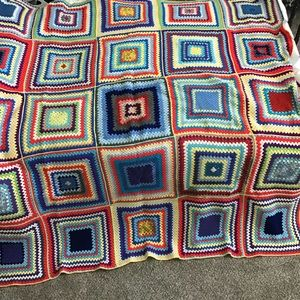 "Vintage Large Granny Square Throw/Spread 64""x64"""